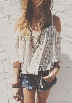 White Patchwork Lace Hollow-out Ruffle 3/4 Sleeve Blouse