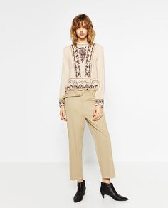 Image 1 of EMBROIDERED FRILLED TOP from Zara