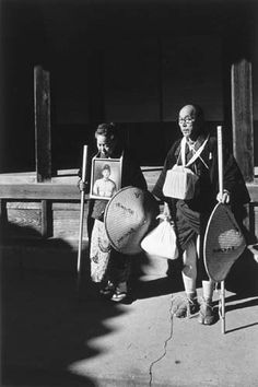 Nagano Shigeichi (b. 1925) - An elderly couple on a pilgrmiage in mourning for their son killed in the war, Tokushima, Dainichiji temple, Japan 1956.