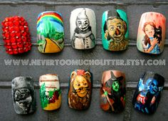 Wizard of Oz (Custom) Press On Nails, Wizard of Oz Fake Nails, Handpainted Designer Nails, Unique Nail Art, Japanese 3D Nail Art by NeverTooMuchGlitter on Etsy https://www.etsy.com/listing/77053355/wizard-of-oz-custom-press-on-nails