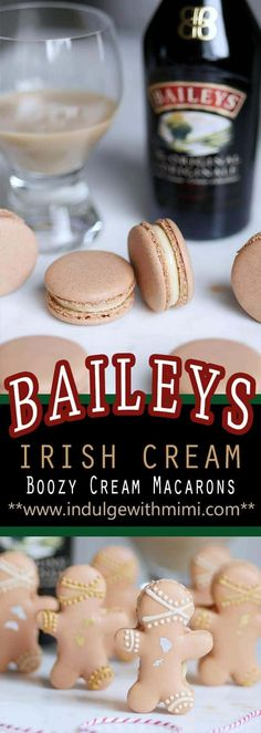 Baileys Irish Cream Gingerbread Man Macarons for the Winter Holidays (Template) - Indulge With Mimi Best Macaron Recipe, Macaroon Recipes, Baileys Irish Cream, Cookie Recipes, Dessert Recipes, Xmas Desserts, Asian Desserts, Frosting Recipes, Plated Desserts