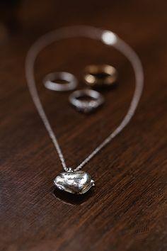 Wedding jewelry, my heart belongs to you. Photo by Joanna Smith Photography, Chicago wedding photographer #weddingdetails #necklace #rings #wedding