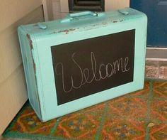 Old suitcase turned chalkboard