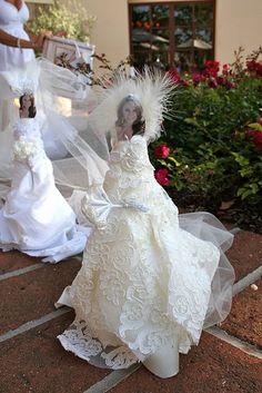 "Ooh-La-La So Chic!: A Tea Party Bridal Shower Design the bridal dress game. Styrofoam cone and scrap fabric plus pins. Bride picks her favorite ""dress"""