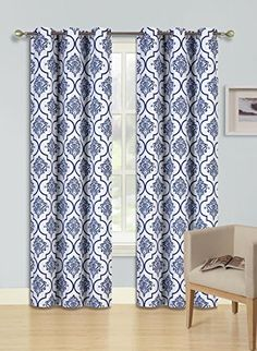 GorgeousHome LANA 1 NAVY BLUE Pattern Design Panel Room Darkening Thermal Lined Blackout Window Grommets Curtain 37 W x 84 L -- Read more  at the image link.