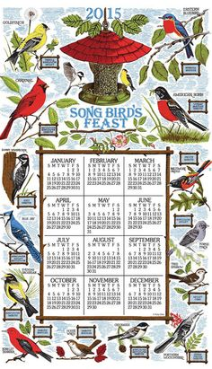 Songbird Festival Linen Calendar Towel