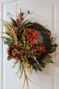 Colorful Front Door Fall Wreath, Sunflowers, Wheat, Colorful Grass with Berries… Thanksgiving Wreaths, Autumn Wreaths, Holiday Wreaths, Thanksgiving Decorations, Wreath Fall, Grapevine Wreath, Autumn Decorating, Fall Decor, Diy Decorating