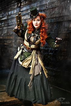 Steampunk Redhead in Earth Tones  - For costume tutorials, clothing guide, fashion inspiration photo gallery, calendar of Steampunk events, & more, visit SteampunkFashionGuide.com