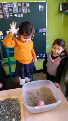 impact van gewicht in zand, stenen, ...: maankraters nabootsen