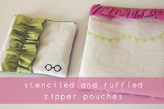 Ruffled zipper pouches.