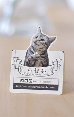 ペット名刺 型抜きポップアップ名刺 猫デザイン 縦型017 オーダーメイド 猫グッズ (1個30枚入)