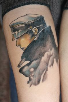 watercolor style tat. this totally looks like mustang at hughes' funeral