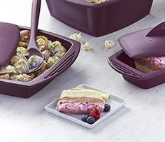 A gorgeous frozen layered cake made with on-trend Greek yogurt. Simply freeze for hours prior to serving. Must make ahead. Perfectly balance your plate: Garnish with ¼ C ml) berries. Frozen Yogurt, Greek Yogurt, Epicure Steamer, Epicure Recipes, How To Make Cake, Freeze, Berries, Food And Drink, Journey