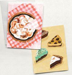 Pie Folded Greeting Cards Set of 2 Meringue Pie Grasshopper | Etsy