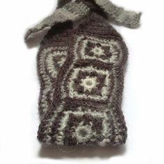 No Slip Crochet Headband, Boho Knit Hairband in Fuzzy Light & Dark Gray Wool, Mohair Blend