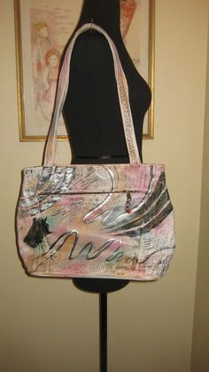 VINTAGE BOTARY HAND PAINTED LEATHER TOTE BAG PURSE