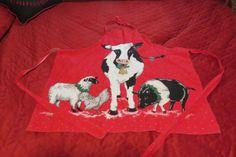 Country CHRISTMAS Farm Animals APRON HANDMADE Cow, Pig, Rooster, Sheep 1 Size #Handmade #BibApron