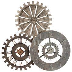Maison du monde Ambiance industrielle  Horloge triple en métal D 92 cm ROUAGES Dimensions (cm) : H 92 x L 92 x PR 8  139,90 €