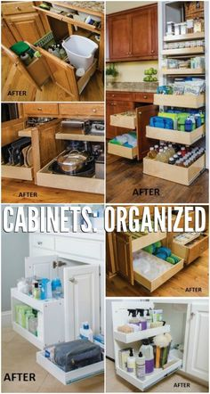 Save space organizing cabinet and under the sink with Easy DIY slide-out shelves!