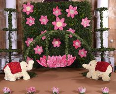 Struggling for ideas for the baby naming ceremony decoration? Remarkable cradle ceremony decoration & themes to make your little one's day memorable. Desi Wedding Decor, Wedding Stage Decorations, Backdrop Decorations, Diwali Decorations, Festival Decorations, Baby Shower Decorations, Flower Decorations, Backdrops, Engagement Decorations