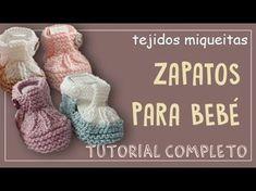 Zapatitos de bebe 0-3 meses tejidos a dos agujas paso a paso - YouTube