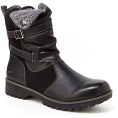 JBU By Jambu Evans Women's Black Boot ($70) ❤ liked on Polyvore featuring shoes, boots, black, black zip boots, platform shoes, black platform shoes, cold weather boots and black mid heel boots