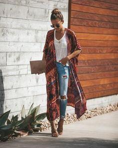 Kimono Look - Fashion Mode Hippie, Mode Boho, Black Women Fashion, Look Fashion, Womens Fashion, Fashion Spring, Cheap Fashion, Ladies Fashion, Boho Autumn Fashion