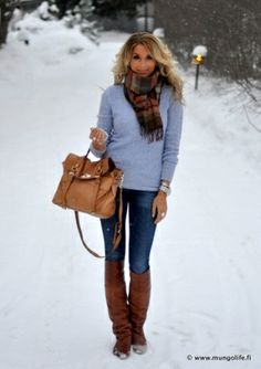 skinny jeans, blue sweater, plaid scarf, brown boots, brown tote
