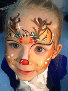 Rudolph face painting by Gwen