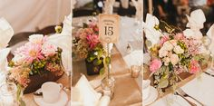 Pink and green flower box centerpieces at Tiffany & Jon's Rustic Fall Farm Wedding | Sweet Little Photographs