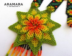 Dimensions  Length 17 inches (43.18 cms) from point to point The diameter of the flower is 4.5 inches (11.43 cms)  Earrings length is 3.9 inches (9.90 cms)  The Huichol represent one of the few remaining indigenous cultures left in Mexico. They live in self-imposed isolation, having chosen Collar Indio, Native American Beadwork, Beaded Flowers, Bead Art, Beaded Embroidery, Crochet Earrings, Jewelry Making, Zulu, Jewels