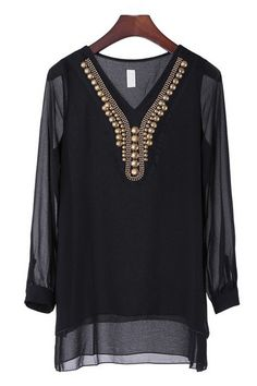Bejeweled Long Sleeve High-low Tunic - OASAP.com