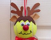 Christmas Reindeer Ornament Tennis Ball (Girl). $8.00, via Etsy.