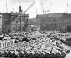 Sherry shipment at London Docks, equivalent to 600,000 bottles, in 1961