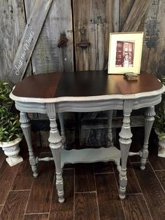 Just the Woods, llc - a veteran owned business specializing in painted furniture using eco friendly products makes over an antique Victorian parlor table.