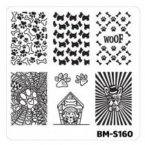 Nail Art Stamping Plates-Fuzzy and Ferocious - BM-S160, Canine Lover