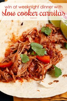 Let your slow cooker help you be a weeknight hero with these slow cooker carnitas and veggies. #slowcooker #easydinner