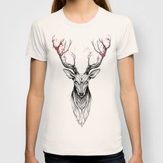 BUY: http://society6.com/product/deer-tree-black-stroke-version-for-t-shirts_t-shirt?curator=4thecrime  Deer Tree - t-shirt