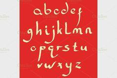 Vector handmade Roman alphabet. Script Fonts