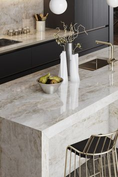Inspired by the quartzite of the Taj Mahal, Dekton Taga is part of the 6 hyper-realistic colours of Grey Kitchen Interior, Kitchen Room Design, Kitchen Dinning, Modern Kitchen Design, Home Decor Kitchen, New Kitchen, Home Kitchens, Interior Modern, Dining