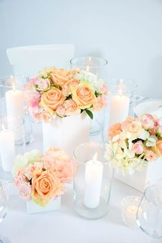 Apricot I Rosa I Hochzeit I Dekoration I Weiß I Glas I Kerzen I Teelicht I Vase I Nelken I Rosen I Hortensien
