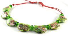 Green Owl necklace . Lampwork glass necklace door GlassAfternoon