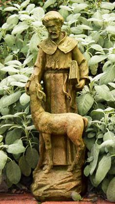 "St Francis w/ Deer Statue (22""H).  This will look wonderful in my garden!"