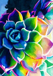 Watercolor Succulents, Watercolor Cactus, Psychedelic Colors, Plant Drawing, Cactus Art, Colorful Drawings, Abstract Flowers, Painting Inspiration, Watercolor Paintings