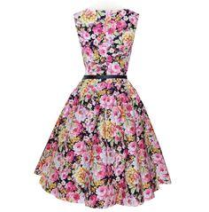 Audrey Hepburn Floral Print Vintage Dress With Belt-BELT-SheSimplyShops