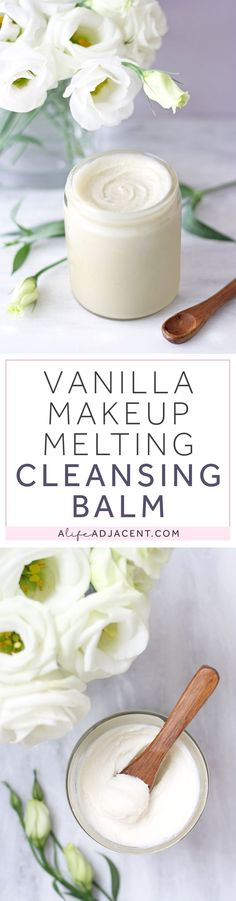 Learn to make vanilla-scented Cleansing Balm with this easy, natural DIY. Quickly emulsify and remove makeup, sunscreen and oil. Recipe uses saturated fats that are heat stable and low in PUFAs: coconut oil and shea butter. | Natural skincare, DIY skincare, low PUFA skincare, PUFA free skincare, Dr. Ray Peat, makeup melting balm, DIY makeup remover, double cleansing, double cleanse, cleanser, saturated fat. #CleansingBalm #DIYSkincare