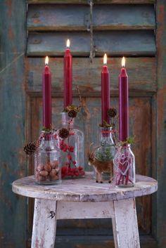 DIY-Adventskranz aus befüllten Flaschen    #DIY #Weihnachten #Adventskranz