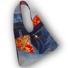 Recycled Old Jeans, Japanese Obi & Hand-dyed Indigo Fabric Hobo Bag by Kazuenxx on Etsy
