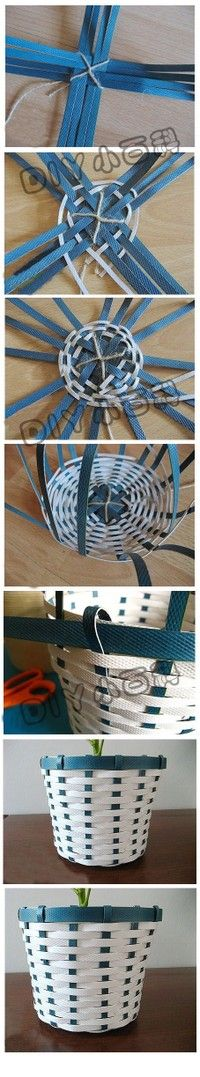 Foe kids, possibly use a cd base, a glue gun and have an easy to weave basket.