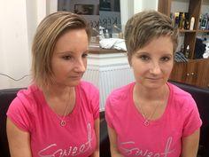 Změna střihu od Top Stylist Moniky - inspirace na účes z krátkých vlasů. / Hair change - short hair cut inspiration. Before and after.